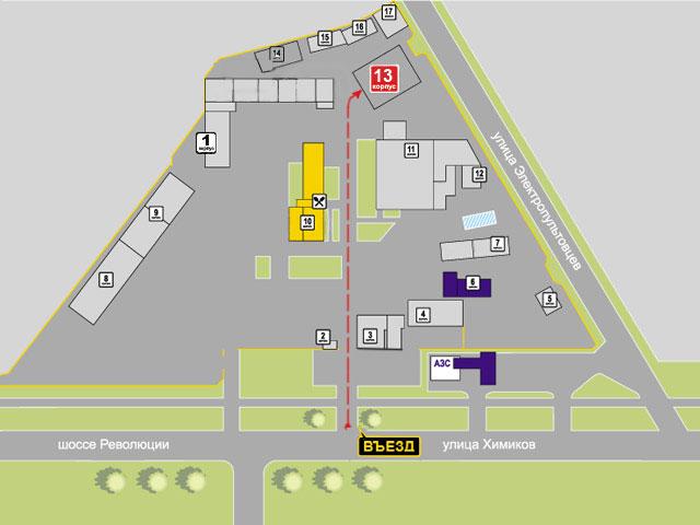 """Как проехать к 13 корпусу на территории комплекса """"Автопервый"""""""